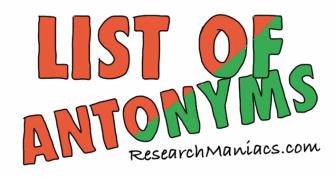 Worksheets Antonyms Words List list of antonyms words